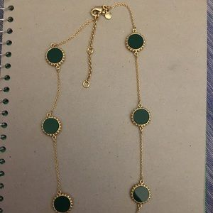 Ann Taylor Gold Necklace With Green Gems